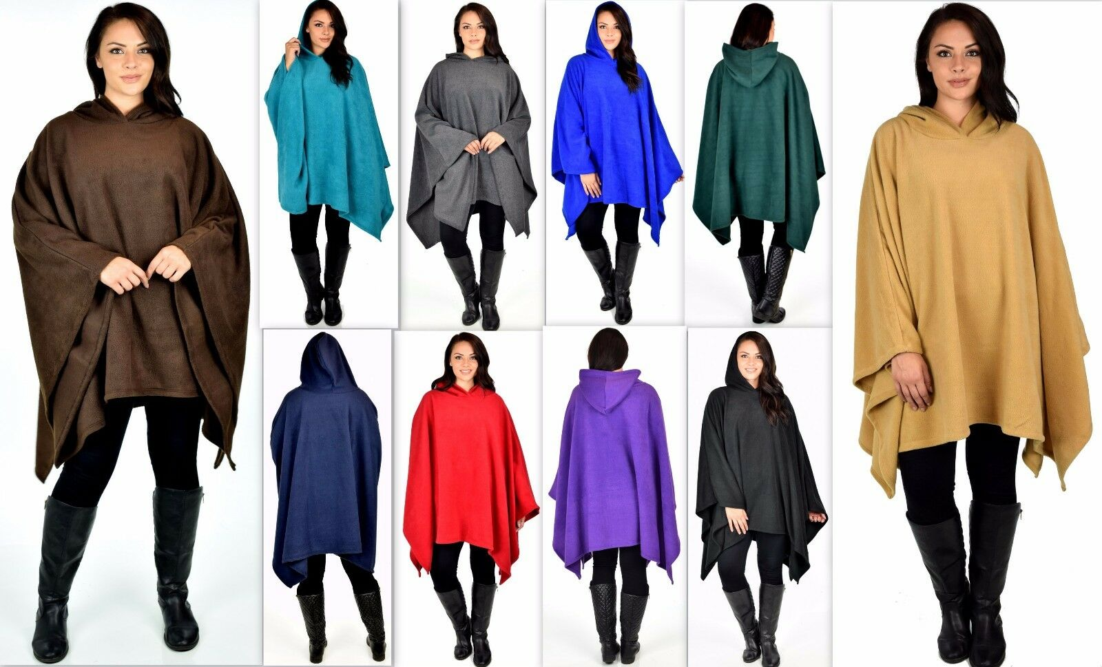 damen Poncho Style Hoodie Sweater Fleece Cover Up for Cold Weather