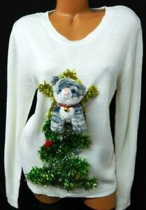 Women-039-s-white-cat-bells-tinsel-christmas-tree-ugly-Christmas-sweater-XXL