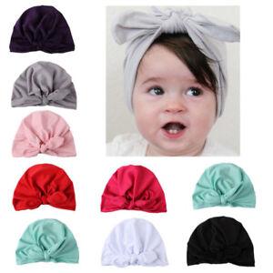 Newborn Toddler Baby Boy Girl Rabbit Bow Knot Turban Velvet Beanie ... bbc28981457