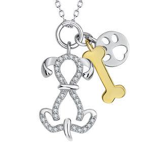8ba085c1750 Footprint Dog Paw Gold Dog Bone Charm Sterling Silver Pendants ...
