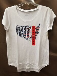 NEW-Lucky-Brand-Women-Cut-Sleeve-Freedom-T-Shirt-Decorated-Tee-Various-Sizes