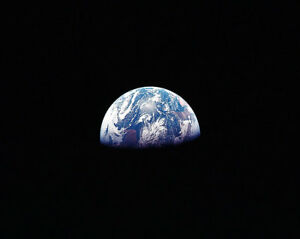 APOLLO 11 EARTHRISE OVER THE MOON 8x10 SILVER HALIDE PHOTO PRINT