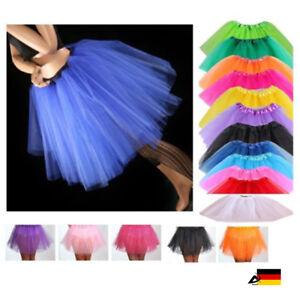 Damen Tütü Tutu Tüllrock Ballett Petticoat Ballettrock Ballettkleid 3 Lagen Rock