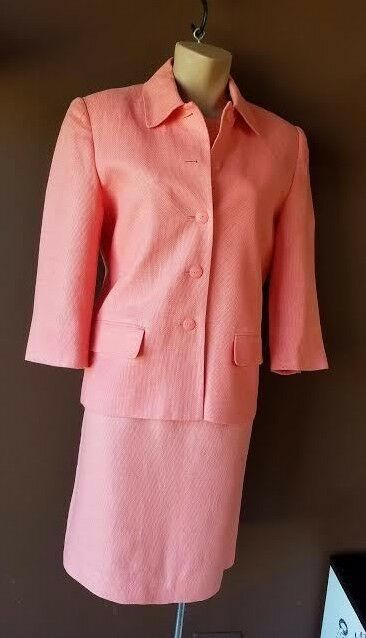 Talbots tropical pink dress suit size 8, 100% Irish lining