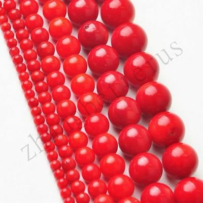 """Natural Wholesale Round Red Coral Loose Charms Spacer Beads 16"""" Strand 2-9 mm"""