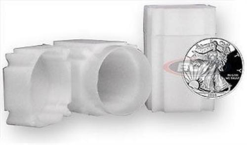 2 Coinsafe Brand Square White Plastic Silver Eagle Size Coin Storage Tube