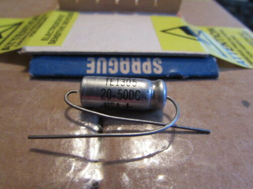 20uF 50DC Sprague 30D TE1305 USA Axial Capacitor New Old Stock Qty 1 Piece