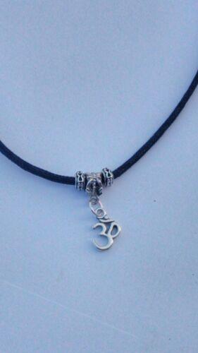 choker adjustable Black waxed cord Ohm Om Yoga//Reiki// Buddha Prayer necklace