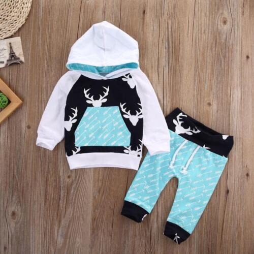 Newborn Infant Baby Boy Girl Deer Arrow Hoodie Tops+Pants Outfits Clothes Set