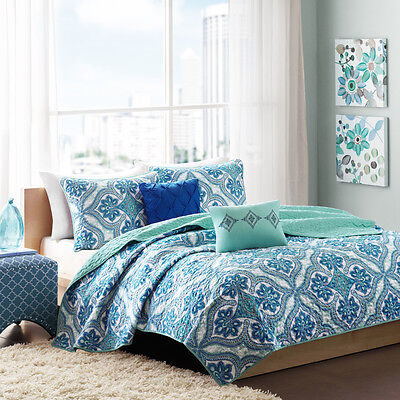 BEAUTIFUL EXOTIC CHIC BLUE TEAL GREEN AQUA GREY BEACH OCEAN QUILT SET FULL QUEEN