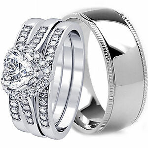 4-PCS-HIS-AND-HERS-TITANIUM-925-STERLING-SILVER-WEDDING-BRIDAL-MATCHING-RING-SET