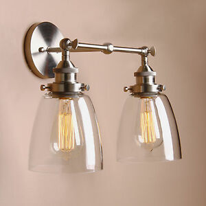 Permo 14 5 cloche glass vintage industrial double arm for Home interior 5 arm sconce