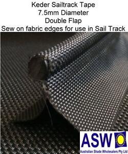Keder Sail Track Tape Black Sew On Fabric Edge Sailtrack