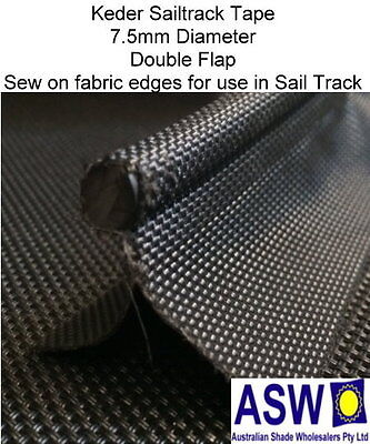 10m Length KEDER Sail Track Tape BLACK Sew On Fabric Edge Sailtrack Shade Cloth