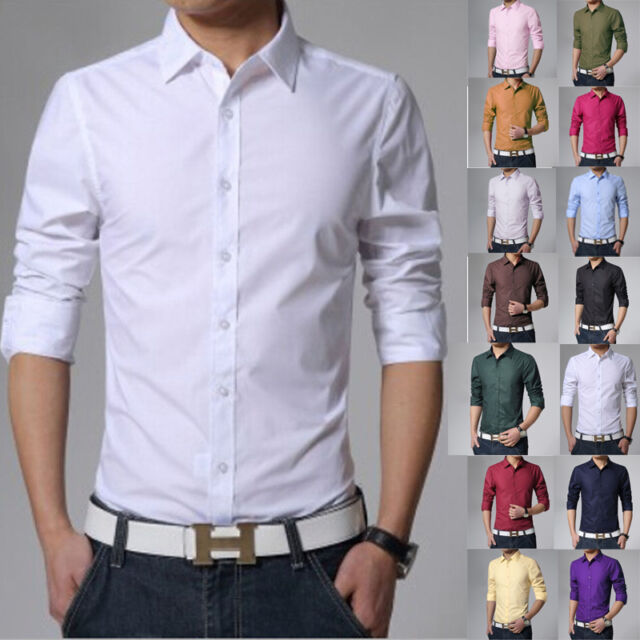 Stylish Mens Button-Down Solid Fit Long Sleeve Casual/Formal Dress Shirts S-XXXL