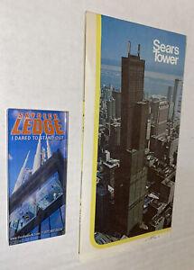 2 LOT Vintage Sears Tower Items Brochure Skydeck Ledge Magnet Chicago Souvenir