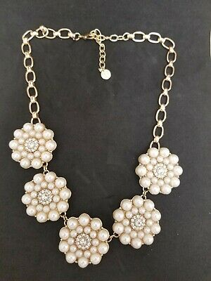 Talbots Gray Sea Crystal Cluster Statement Necklace