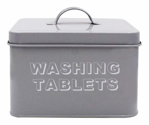 Washing Kitchen Tablet Storage Tin Metal Grey 18x15x12cm Contemporary Sleek New