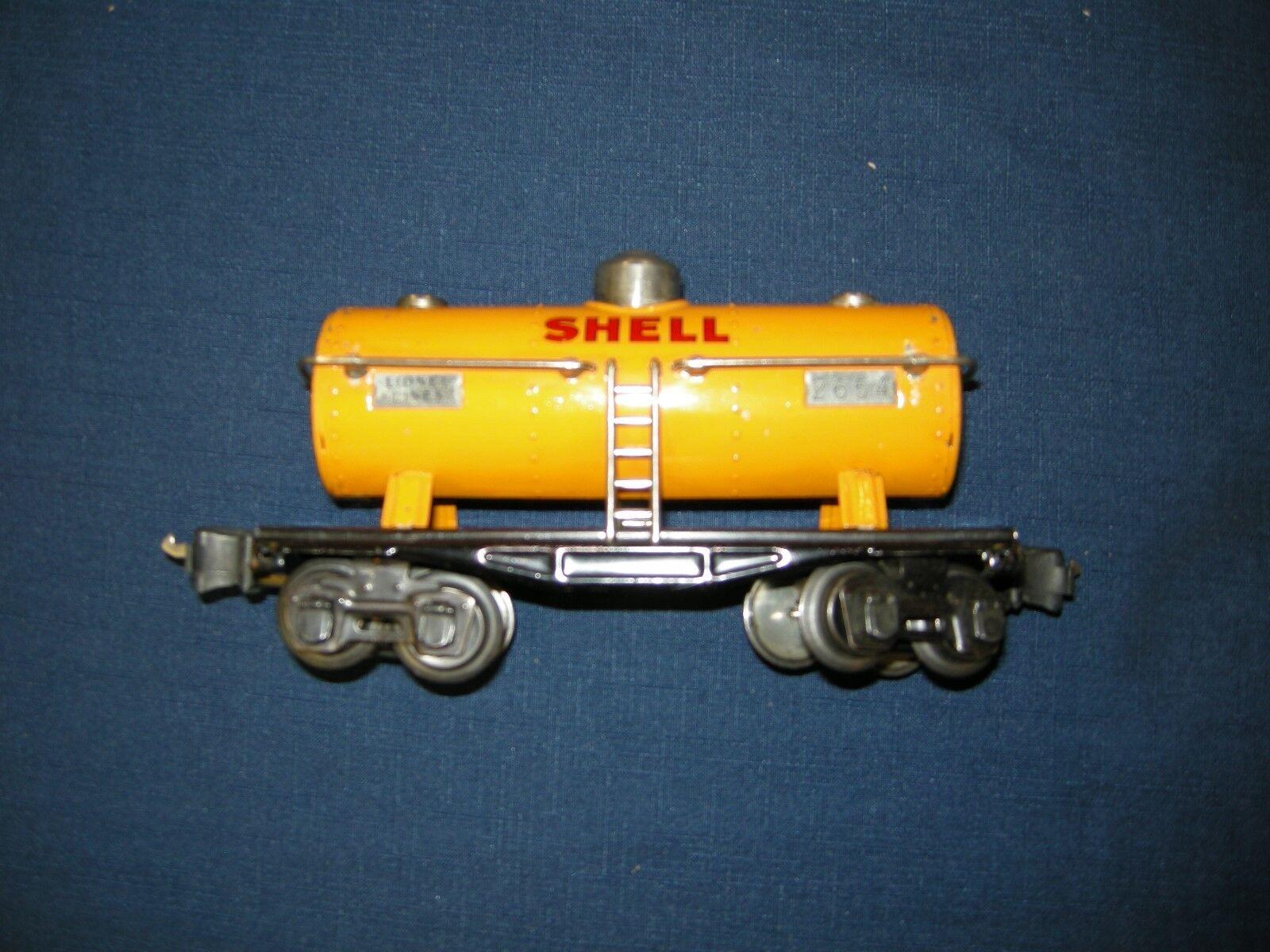 LIONEL 2654 TANK CAR PRE WAR YELLOW SHELL OIL LN C8 BEAUTIFUL