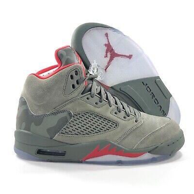 best service 64df8 d80b7 Nike Air Jordan 5 V Retro P51 Camo Dark Stucco Green Red 136027-051 Men's  8-8.5   eBay