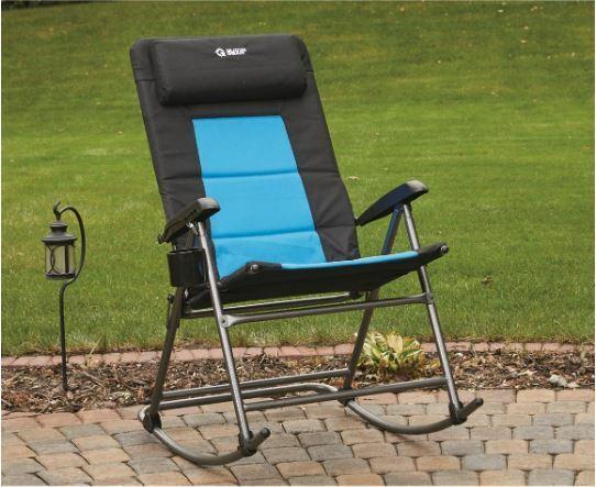 Mecedora Plegable Camping Rocker porche al aire libre, 500lbs Asiento Muebles, Azul