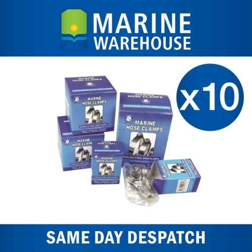19mm to 27mm 403304 10X Hose Clamps Marine Stainless Steel