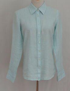 Vineyard Vines Womens Linen Blue White Striped Long Sleeve Button Front Shirt 8
