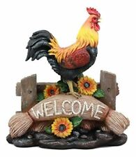 Rustic Chicken Rooster On Fence With Psalms Bible Verse Desktop Plaque Statue