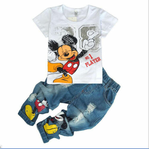 Jeans Kids Sportswear Outfits 2PCS Baby Boys Mickey Mouse Short Sleeve T-Shirt