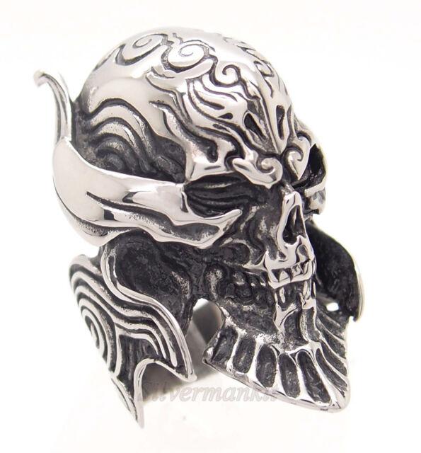 Men Silver Devil Skull Demon Biker 316L Stainless Steel Ring