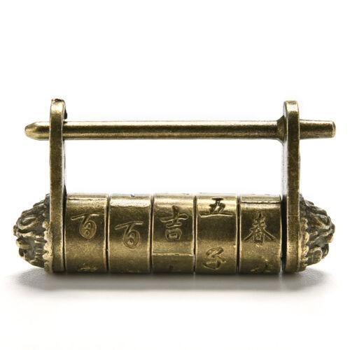 Chinese alt antikes altes Passwort Messing Stil Schloss Lock//Key AB