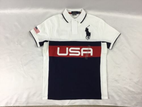 Polo Coupe Lauren Homme Ralph L Blanc Usa Slim Taille Custom Marine m0Nvn8wO