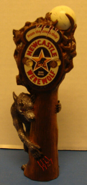 """NEWCASTLE WEREWOLF BLOOD RED ALE FIGURAL 7"""" BEER TAP HANDLE NEW"""