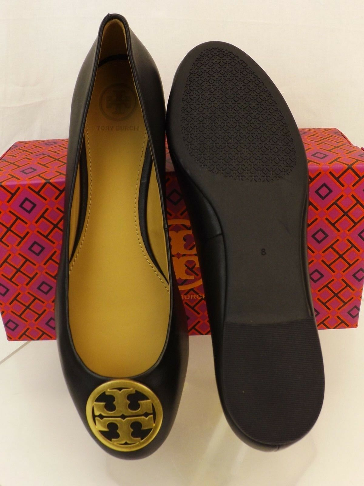 09bac92d3635 Tory Burch Benton Black Nappa Leather Gold Tone Reva Ballet Flats 9 for  sale online