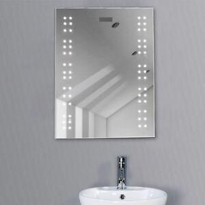 Bathroom illuminated mirror led light sensor demister - Illuminated wall mirrors for bathroom ...