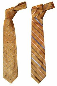 MENS-Premium-Classic-100-Silk-Tie-Gold-Blue-White-Striped-Abstract-3-5-034-W-58-034-L