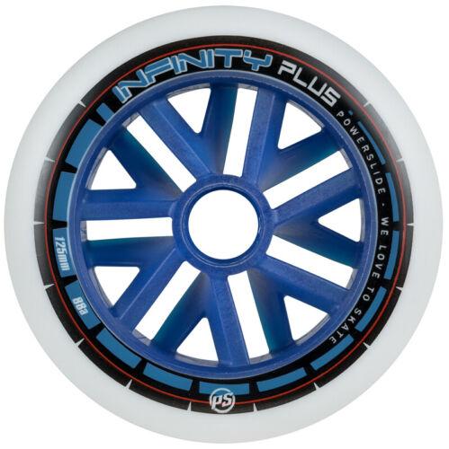 6x Powerslide Infinity Plus 125mm 86A Wheels blue Speed Inline Skate Rollen blau