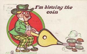 GENUINE-VINTAGE-1930-039-s-I-039-M-BLOWING-THE-COIN-POSTCARD-UNUSED-CARTOON-POSTCARD