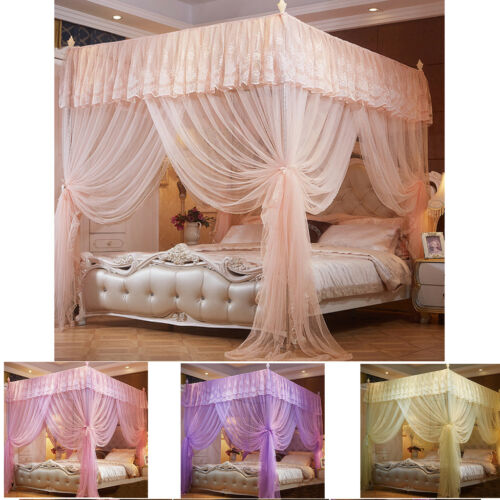 Princess 4 Corners Post Bed Curtain Canopy Mosquito Netting Poster Canopies Net