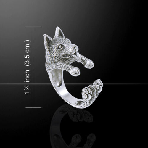 Details about  /German Shepherd Dog Ring Peter Stone .925 Sterling Silver Jewelry