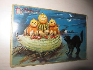 1912-Raphael-Tuck-amp-Sons-Halloween-PostCards-Series-No-150-pumpkin-gourd-men