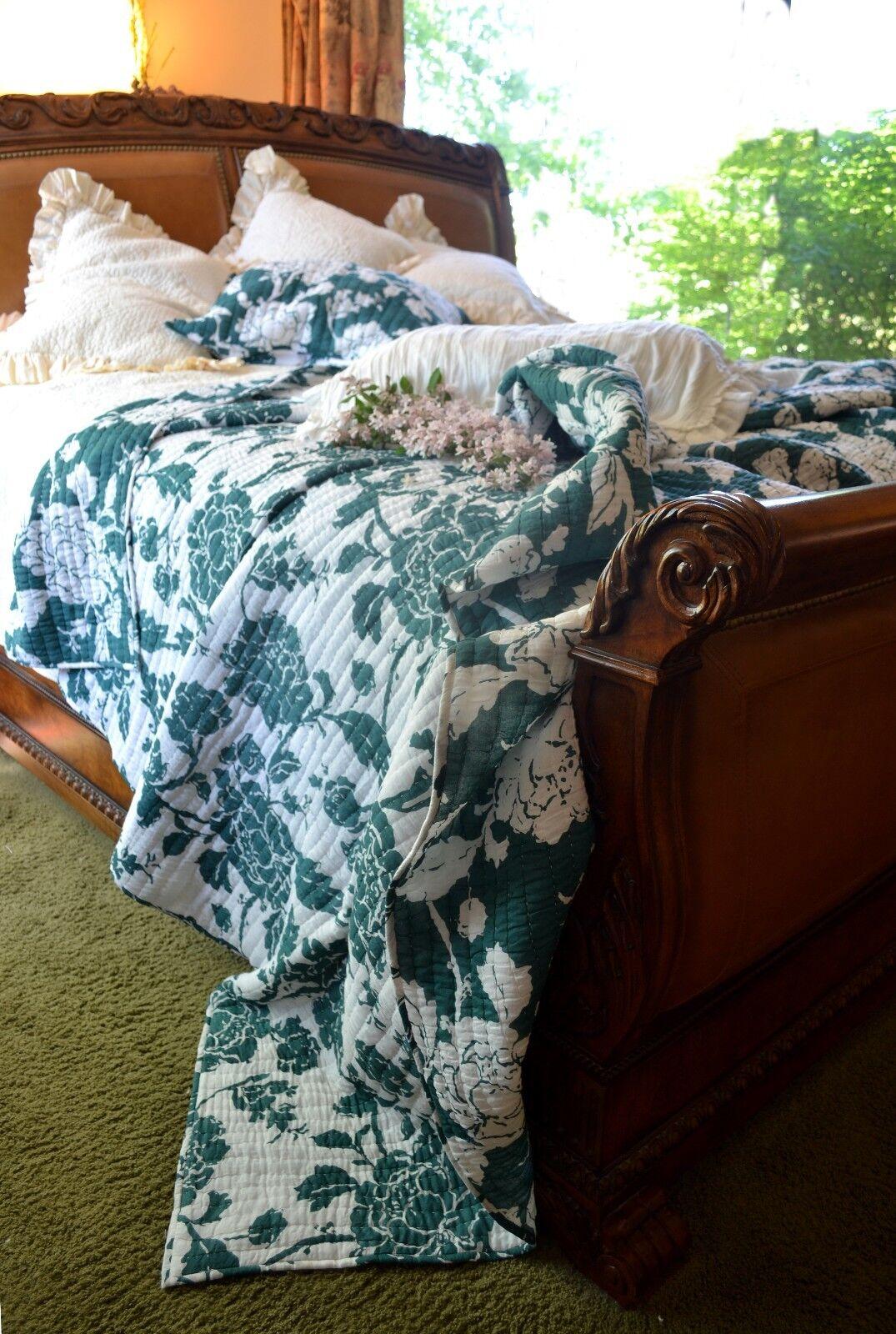 Sample for Soft Surroundings Floral Handmade Reversible Quilt Queen Teal + Sham