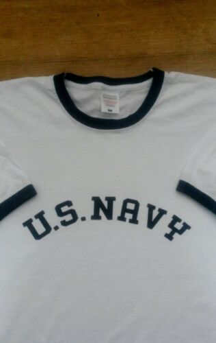 WW2 US Navy T-shirt Rare Vintage Style Ringer 1940s Military Army USA American