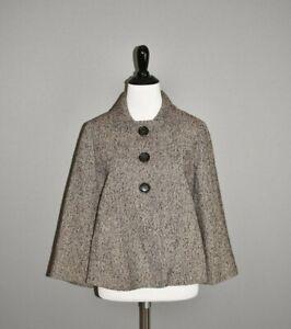 MICHAEL-KORS-228-Brown-Tweed-Cropped-Swing-Jacket-Coat-Medium