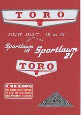 TORO 1960s Sportlawn 18 or 21 Vintage Mower Repro Decals