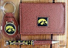 University of Iowa Football NCCA Brown Tri-Fold Wallet keyring Pen Gift Set