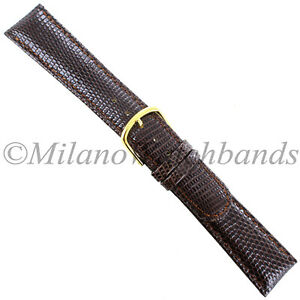 16mm-Gilden-Brown-Luxury-Med-Padded-Stitched-Genuine-Lizard-Round-Edge-Mens-Band
