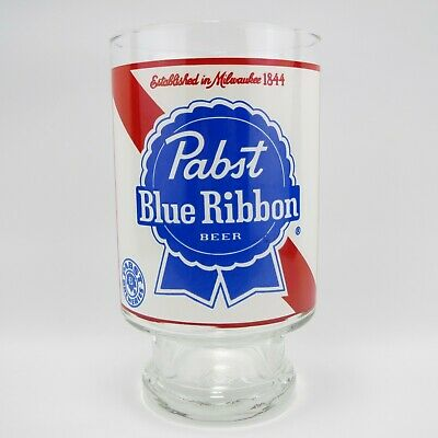 """PABST BLUE RIBBON PBR VINTAGE 7"""" TALL 32 OUNCE BEER GLASS W//FOOTED BASE"""