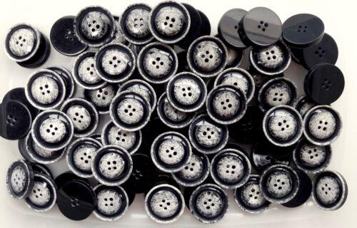Large 18 mm 23 mm 32 mm Noir Blanc Marbre Brosse effet 4 trous Boutons Q115A-Q115Cx