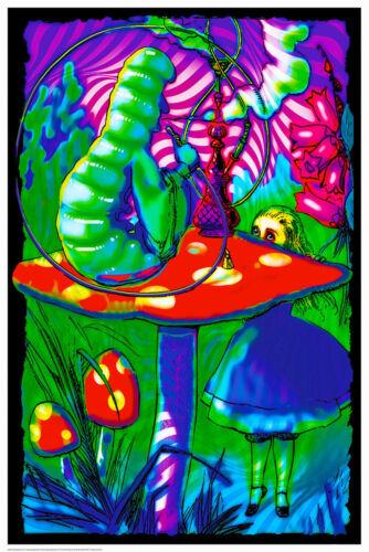 Pyschedelic Alice Blacklight Poster 24 x 36 Smoking in Wonderland Trippy Gift